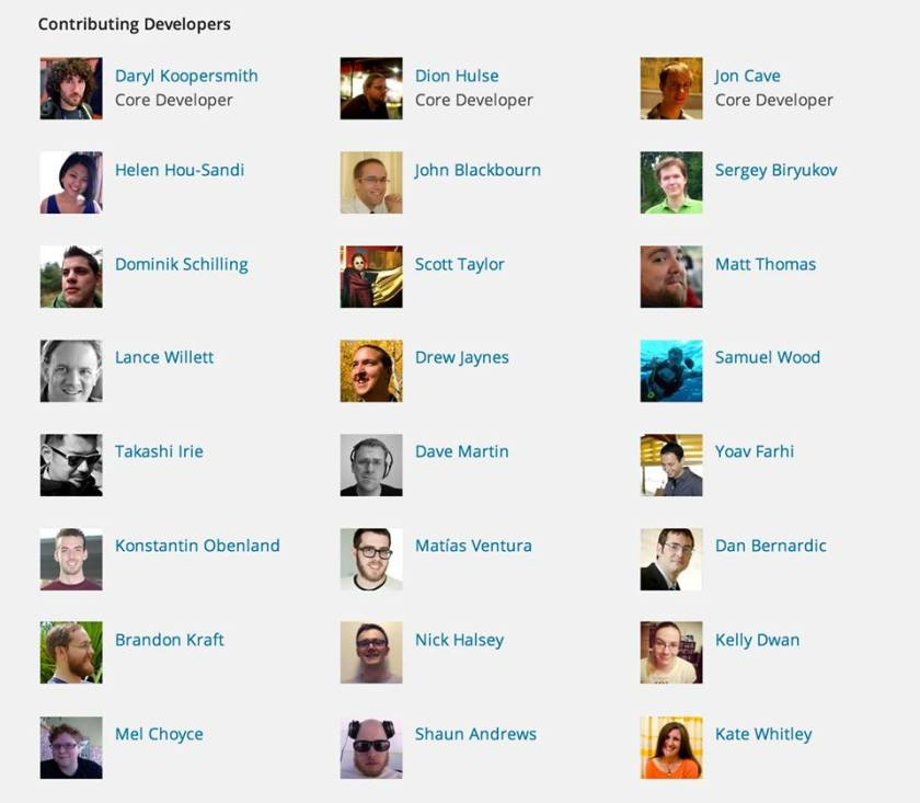 WordPress Contributing Developers