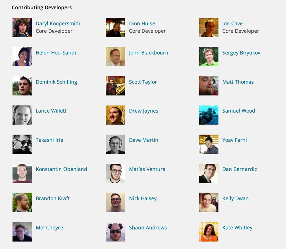 WordPress Contributing Developers